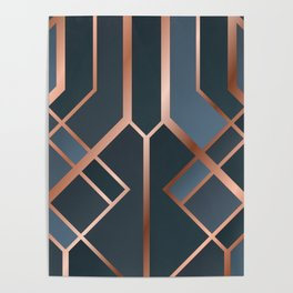 Dark Blue Art Deco Poster