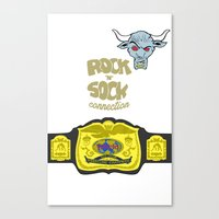 wwe Canvas Prints featuring Rock 'N' Sock WWE The Rock by ems23