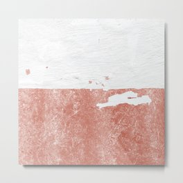 white paint with peeling rose gold foil Metal Print