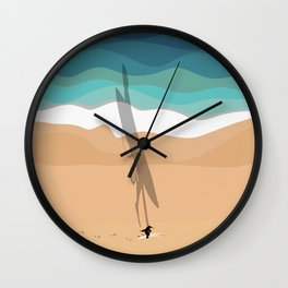 Beach Vibes | Surfer From Above  Wall Clock
