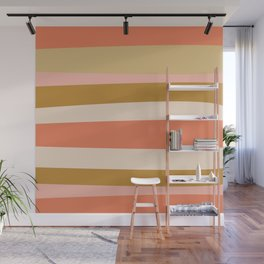 Groovy Stripes in Ochre Gold and Millennial Pink Wall Mural