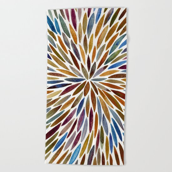 Watercolor Burst – Retro Palette Beach Towel