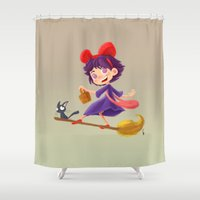 kiki Shower Curtains featuring Let's have a Kiki by Ian Chaffardet