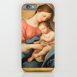 Madonna with child and angels iPhone Case