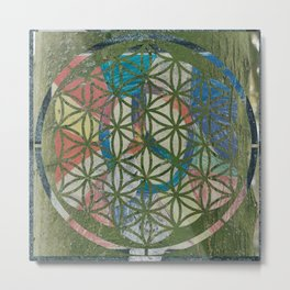 The Tree in The Flower Of Life Metal Print