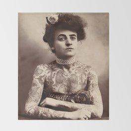 Maud Stevens Wagner Original 1907 Tattooed Lady Throw Blanket