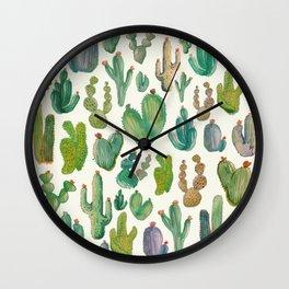 Summer Watercolor Cactus Wall Clock