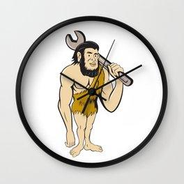 Neanderthal CaveMan With Spanner Cartoon Wall Clock