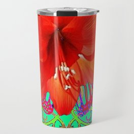 Italian  Style Design Red Amaryllis Abstract Travel Mug