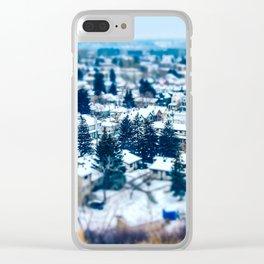 Tilt Shift Miniature Downtown Calgary Clear iPhone Case