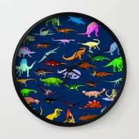 dinosaurs Wall Clocks featuring Dinosaurs by Raffaella315