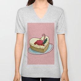 Food Illustration Cake Unisex V-Neck