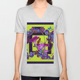 Purple Morning Glories Butterfly Patterns Chartreuse Art Unisex V-Neck