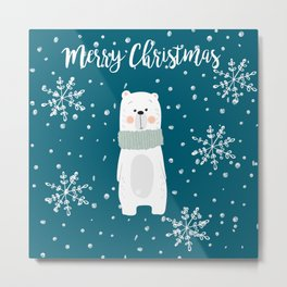 Cute Polar Bear Teal Metal Print