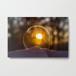 abstract art ball blur bright clear close-up cold dark flame glisten gold ice landscape light luminescence moon reflection round shining snow soap bubble sparkle sphere sun sunbeam sunset transparent winter Metal Print