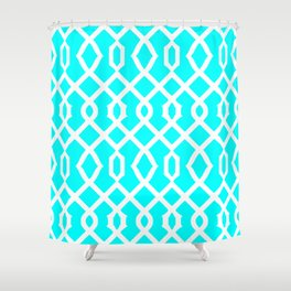 Grille No. 3 -- Cyan Shower Curtain