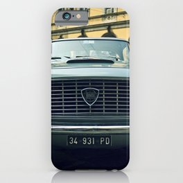 Lancia, Car, Vintage, Streets, Cobblestone, City. Vintage. Retro. Illustration.  iPhone Case