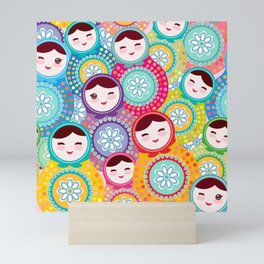 Russian dolls matryoshka, pink blue green colors colorful bright pattern Mini Art Print