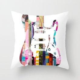 Electric Guitar | Magazine Strip Art Throw Pillow