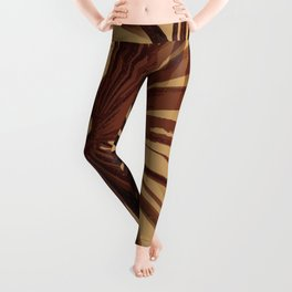 Burgundy and Coffee Tropical Beach Palm Vector Leggings