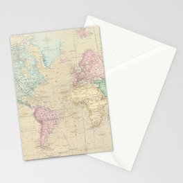 Vintage Map of The World (1862) Stationery Cards