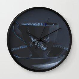 The Black Teacup | Still Life | Kitchen Art | Tea Wall Clock