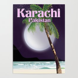 Karachi Pakistan beach poster. Poster