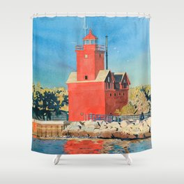 Holland Big Red Focus Shower Curtain