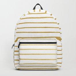 Gold Paris Stripe Pattern Backpack