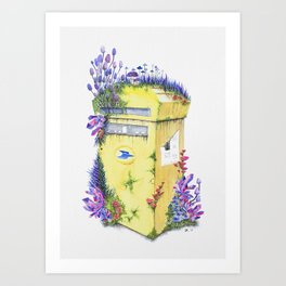 Growth on MailBox | Surrealistic Watercolor Painting by Stephanie Kilgast Art Print