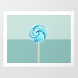 Blue Lollipop Art Print
