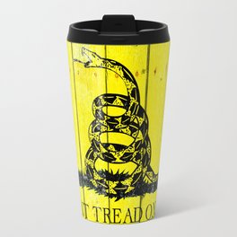 Gadsden Flag On Old Wood Planks Travel Mug