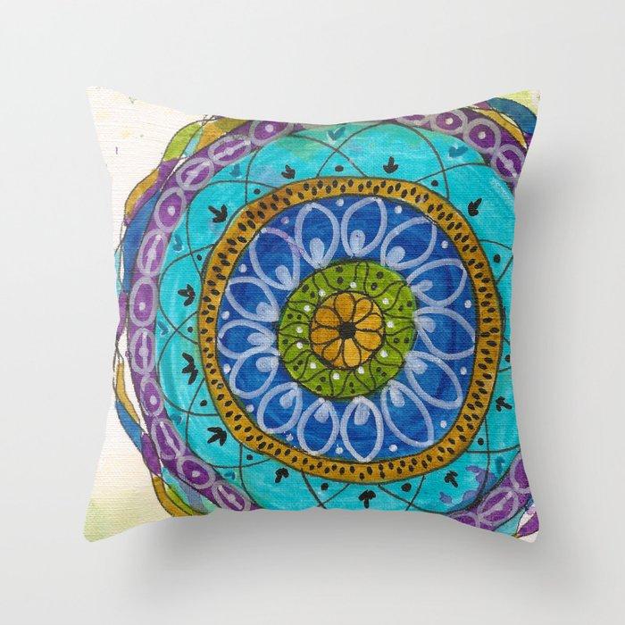 Splotch Art Mandala Turquoise Throw Pillow