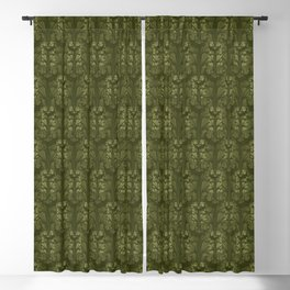 Olive Green Classic Acanthus Leaves Pattern Blackout Curtain
