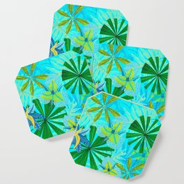 My blue abstract Aloha Tropical Jungle Garden Coaster