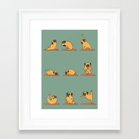 pug Framed Art Prints featuring Pug Yoga by Huebucket