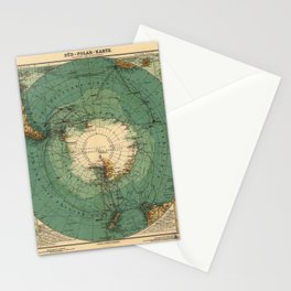 Map of Antarctica from 1912 (Süd-Polar-Karte) Stationery Cards