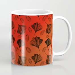 Ginkgo Pattern on Stripe Gradient Coffee Mug