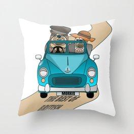 English Bulldog Best of British in Car  Throw Pillow