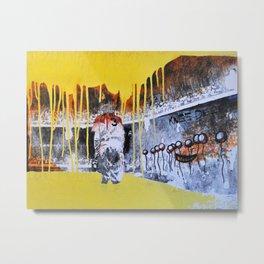Mixed Media Art Yellow Rain Metal Print