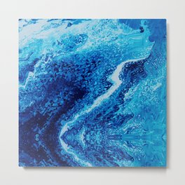 Psycho - Let the River Flow, Blue Ocean Themed Flow by annmariescreations Metal Print