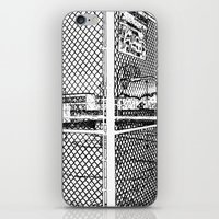 outdoor iPhone & iPod Skins featuring outdoor basketball court black and white by Dragonheart