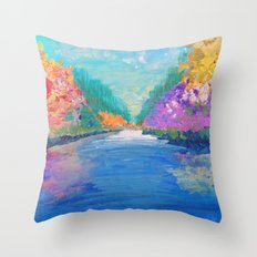 AROUND THE RIVERBEND - Autumn River Modern Nature Pochahontas Abstract Landscape Acrylic Painting Throw Pillow