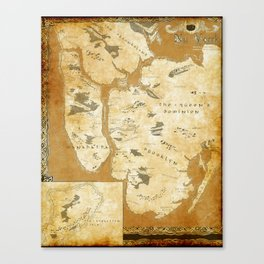 Fantasy Map of New York: Gold Parchment Canvas Print