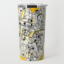 Camera Heart - on yellow Travel Mug