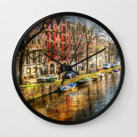 amsterdam Wall Clocks featuring Amsterdam  by haroulita