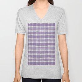 Watercolor Brushstroke Plaid Pattern Pantone Chive Blossom Purple 18-3634 on White Unisex V-Neck