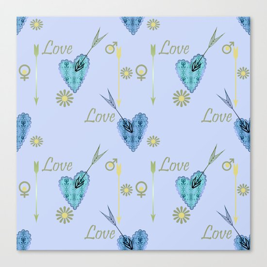 Love . The filigree heart . Blue background . Canvas Print