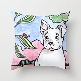 Frenchie spies a bug Throw Pillow
