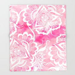 Modern boho pink watercolor white floral mandala  pattern Throw Blanket